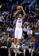 Dec. 17, 2012; Phoenix, AZ, USA; Phoenix Suns guard Shannon Brown (26) shoots the ball during the game against the Sacramento Kings in the second half at US Airways Center. The Suns defeated the Kings 101-90.  Mandatory Credit: Jennifer Stewart-USA TODAY Sports