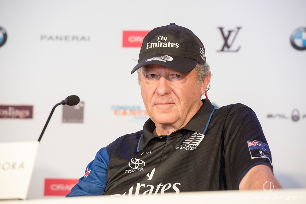 The America's Cup Village, Bermuda, 26th June 2017. Emirates Team New Zealand Principal Matteo de Nora at the final press conference as winners of the America's Cup.