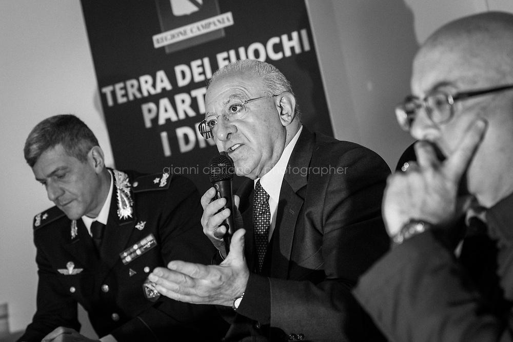 MARCIANISE (CE) - XX FEBBRAIO 2018: Vincenzo De Luca (Partito Democratico), Presidente della Regione Campania ed ex sindaco di Salerno, partecipa alla presentazione del servizio di controllo con i droni per il monitoraggio della Terra dei Fuochi a Marcianise (CE) il 3 febbraio 2018.<br /> <br /> Le elezioni politiche italiane del 2018 per il rinnovo dei due rami del Parlamento &ndash; il Senato della Repubblica e la Camera dei deputati &ndash; si terranno domenica 4 marzo 2018. Si voter&agrave; per l'elezione dei 630 deputati e dei 315 senatori elettivi della XVIII legislatura. Il voto sar&agrave; regolamentato dalla legge elettorale italiana del 2017, soprannominata Rosatellum bis, che trover&agrave; la sua prima applicazione<br /> <br /> ###<br /> <br /> MARCIANISE, ITALY - 3 FEBRUARY 2018: Vincenzo De Luca (Democratic Party / Partito Democratico), President of the Campania region and former mayor of Salerno, participates at the inauguration of the Drone air control service for the Terra dei Fuochi (Land of Fires), an area near Naples that has been dogged with mafia-related waste fires, in Marcianise, Italy, on February 3rd 2018.<br /> <br /> The 2018 Italian general election is due to be held on 4 March 2018 after the Italian Parliament was dissolved by President Sergio Mattarella on 28 December 2017.<br /> Voters will elect the 630 members of the Chamber of Deputies and the 315 elective members of the Senate of the Republic for the 18th legislature of the Republic of Italy, since 1948.