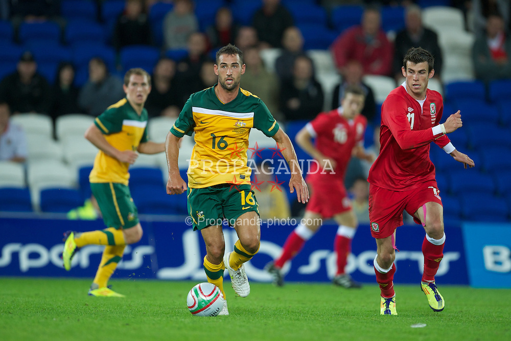 CARDIFF, WALES - Wednesday, August 10, 2011: Australia's Carl Valeri in action against Wales during an International Friendly match at the Cardiff City Stadium. (Photo by David Rawcliffe/Propaganda)