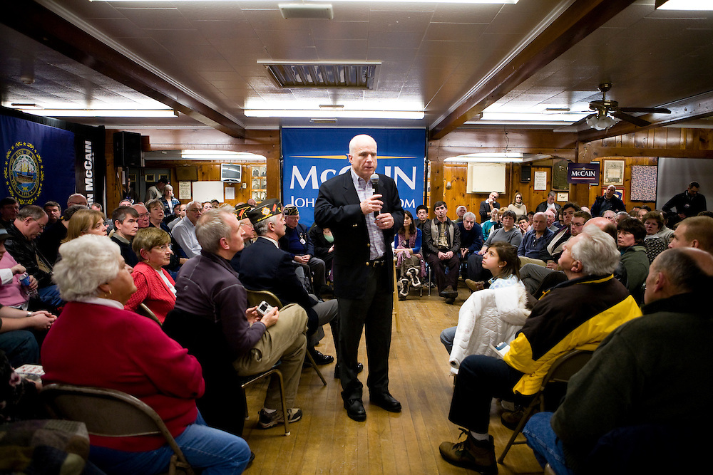 Sen. John McCain (R-AZ) holds a town hall meeting during a campaign stop in Laconia, NH, on Tuesday, Jan. 1, 2008.
