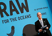 Dr. Iain Kerr speaks during the press conference to announce Pharrell Wiliams' collaboration with Bionic Yarn and G-Star Raw at the Museum of Natural History in New York City, New York on February 08, 2014.