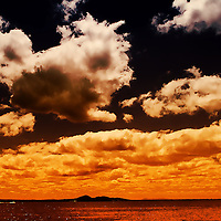 clouds in a summer sky over the sea