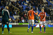 Darren Randolph, Jonathan Grounds and Stephen Gleeson at the final whistle during the Sky Bet Championship match between Reading and Birmingham City at the Madejski Stadium, Reading, England on 22 April 2015. Photo by Adam Rivers.