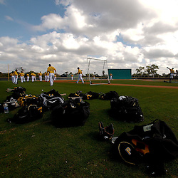 February 21, 2011; Bradenton, FL, USA; a detailed view of Pittsburgh Pirates players equipment on the field during spring training at Pirate City minor league training complex.  Mandatory Credit: Derick E. Hingle-US PRESSWIRE