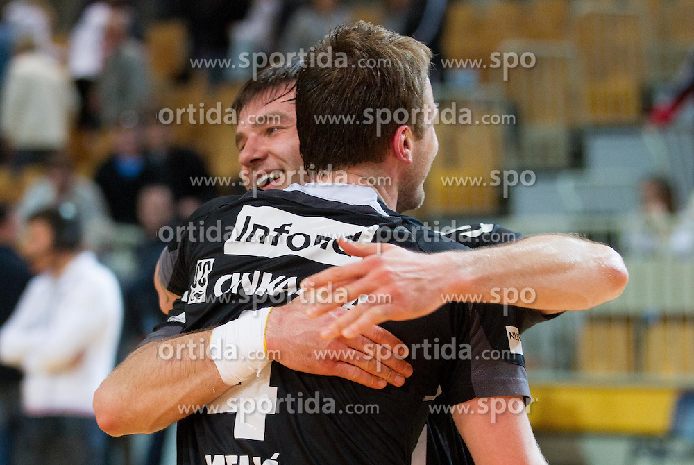 Fahrudin Melic of Gorenje Velenje and Klemen Cehte of Gorenje Velenje celebrate after the handball match between RK Cimos Koper and RK Gorenje Velenje in 25th Round of 1st NLB Leasing League 2011/12, on March 31, 2012 at Arena Bonifika, Koper, Slovenia. Gorenje Velenje defeated Cimos Koper 31-29. (Photo by Vid Ponikvar / Sportida.com)