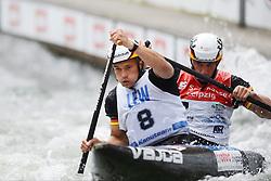 30.06.2013, Eiskanal, Augsburg, GER, ICF Kanuslalom Weltcup, zweier, im Bild Der deutsche Zweier mit Franz ANTON (vorne) und Jan BENZIEN (hinten) im Finale., Finale, Zweier, Doppel, Kanu, Canoe, Deutschland // during the of two race of ICF Canoe Slalom World Cup at the ice track, Augsburg, Germany on 2013/06/30. EXPA Pictures © 2013, PhotoCredit: EXPA/ Eibner/ Matthias Merz<br /> <br /> ***** ATTENTION - OUT OF GER *****