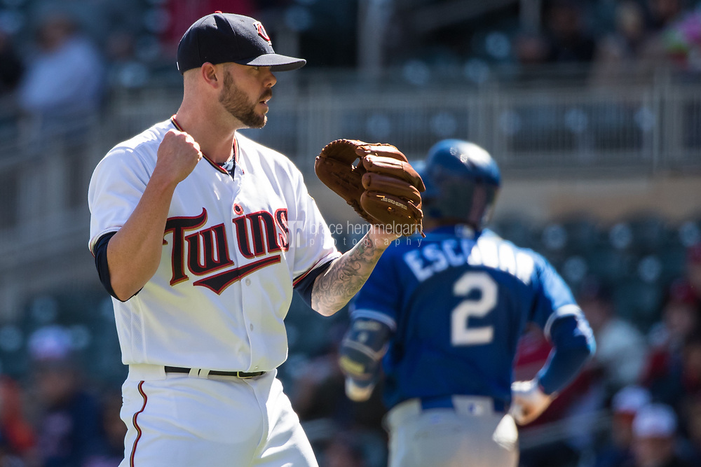 MINNEAPOLIS, MN- APRIL 6: Ryan Pressly #57 of the Minnesota Twins celebrates against the Kansas City Royals on April 6, 2017 at Target Field in Minneapolis, Minnesota. The Twins defeated the Royals 5-3. (Photo by Brace Hemmelgarn) *** Local Caption *** Ryan Pressly