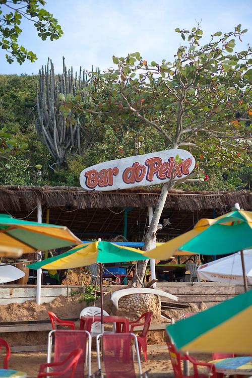 Beachside kiosks at Forno Beach, Buzios.