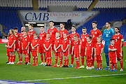 Wales team line up during the Friendly match between Wales and Belarus at the Cardiff City Stadium, Cardiff, Wales on 9 September 2019.