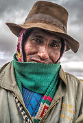 Quechua farmer in the Andes Mountains of Peru.