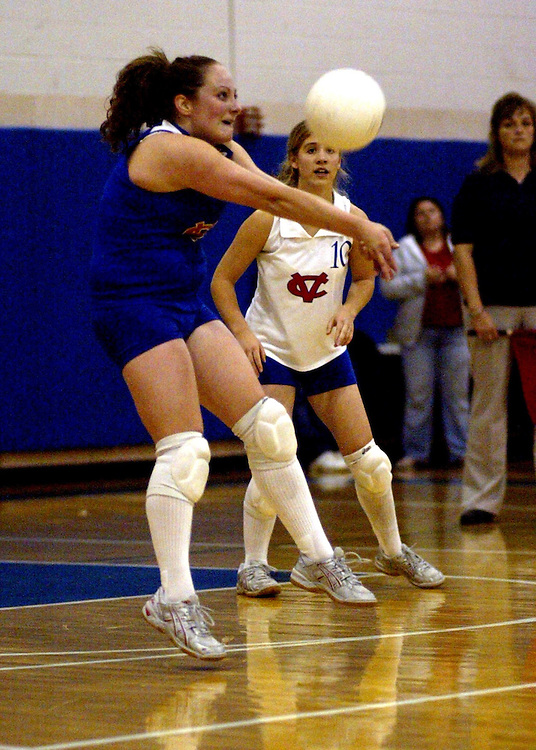 Cassadaga Valley High Schools Andrea Matecki returns a serve during New York State Section 6 volleyball action against Falconer NY 10/30/07.