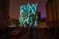 """Fete des Lumieres - Lyon - Dec 2016<br /> Evolutions - Yann Nguema & Ez3kiel<br /> Cathedrale Saint-Jean<br /> La Cathedrale Saint-Jean est une cathedrale vivante et multiple : chaque epoque lui porte un regard, chaque imaginaire lui prete une vie. De pierre en pierre et de pixel en pixel, venez en decouvrir l'histoire racontee par """"Evolutions"""" dans une epopee poetique melant projections, lumieres et lasers. Voyez la cathedrale se dresser dans ses materiaux originels puis renaitre de papier, de soie, d'acier, de lumiere et d'energie."""