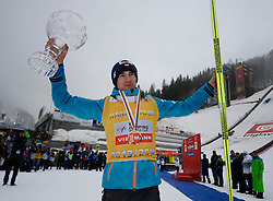 23.03.2014, Planica, Ratece, SLO, FIS Weltcup Ski Sprung, Planica, Siegerehrung, Skisprung, Gesamtwertung, im Bild Kamil Stoch Gewinner der Gesamtwertung // Kamil Stoch on podium of overall mens FIS Ski jumping Worldcup Cup at Planica in Ratece, Slovenia on 2014/03/23. EXPA Pictures © 2014, PhotoCredit: EXPA/ Newspix/ Irek Dorozanski<br /> <br /> *****ATTENTION - for AUT, SLO, CRO, SRB, BIH, MAZ, TUR, SUI, SWE only*****