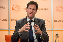 Deputy Prime Minister Nick Clegg and leader of the Liberal Democrats Party answers questions from journalists in a speech on Europe at Thomson Reuters Building, London, United Kingdom. Friday, 9th May 2014. Picture by Daniel Leal-Olivas / i-Images