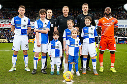 Mascots with the officials and captains Ollie Clarke of Bristol Rovers and Abu Ogogo of Shrewsbury Town - Rogan/JMP - 03/02/2018 - FOOTBALL - Memorial Stadium - Bristol, England - Bristol Rovers v Shrewsbury Town - EFL Sky Bet League One.
