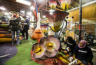 Volunteer work on a flower float for the 127th Rose Parade on Tuesday Dec. 29, 2015 in Pasadena, California. The Rose Parade is one of the largest New Year celebrations in the United States, attracting hundreds of thousands of spectators, will take place on New Year's Day, Jan. 1, 2016.<br /> (Photo by Ringo Chiu/PHOTOFORMULA.com)<br /> <br /> Usage Notes: This content is intended for editorial use only. For other uses, additional clearances may be required.