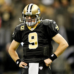 November 28, 2011; New Orleans, LA, USA; New Orleans Saints quarterback Drew Brees (9) prior to kickoff of a game against the New York Giants at the Mercedes-Benz Superdome. Mandatory Credit: Derick E. Hingle-US PRESSWIRE