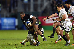 Beno Obano of Bath Rugby takes on the Clermont Auvergne defence - Mandatory byline: Patrick Khachfe/JMP - 07966 386802 - 06/12/2019 - RUGBY UNION - The Recreation Ground - Bath, England - Bath Rugby v Clermont Auvergne - Heineken Champions Cup