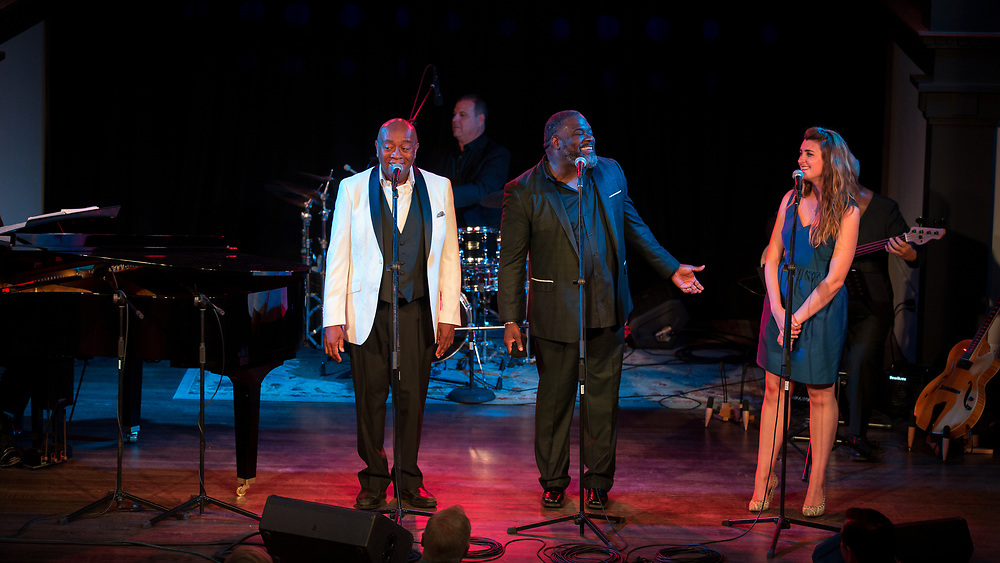 Roger Moss shares the stage at Victory North Concerts with Tony Award Grammy Award nominee and winner, Phillip Boykin and American Traditions Vocal Competition Gold Medalist Mikki Sodergren and local talent Danielle Smart during the Moss & Steiner Opening Cabaret, Saturday, June 29, 2019, in Savannah, Ga. (Photo by Stephen B. Morton)