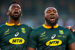 Siya Kolisi (captain) of South Africa with Tendai Mtawarira of South Africa on his 100th cap - Mandatory by-line: Steve Haag/JMP - 16/06/2018 - RUGBY - Toyota Stadium - Bloemfontein, South Africa - South Africa v England Second Test, South Africa Tour