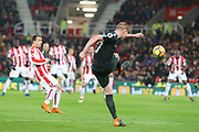 Another quality cross from Kevin de Bruyne during the Premier League match between Stoke City and Manchester City at the Bet365 Stadium, Stoke-on-Trent, England on 12 March 2018. Picture by Graham Holt.