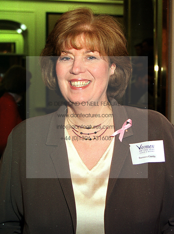 BARONESS CRAWLEY at a luncheon in London on 11th October 1999.<br /> MXJ 48