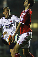 Bolton's Eidur Gudjohnsen (l)  in action. Barclays U21 Premier league match, Bolton Wanderers U21's  v Middlesbrough U21's at The Leyland county ground in Bolton, Lancs on Monday 1st December 2014.<br /> pic by Chris Stading, Andrew Orchard sports photography.