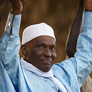 February 22, 2012 - Dakar, Senegal: Senegalese president Abdoulaye Wade addresses a crowd of towsands during a campaign rally in Pykine, a suburb of the capital Dakar, ahead of the presidential elections on the 26th of February.  (Paulo Nunes dos Santos/Polaris)