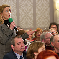 Rita McInerney, a business owner from County Clare during the People's Debate with Vincent Browne at Auburn Lodge Hotel on Friday 16th January.<br /> Rita commented that there is no support for business start-ups in the county. Social Welfare is not available to entrepreneurs if their business fails.