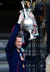 Burnley's Tom Heaton lifts the SkyBet Championship Trophy - Mandatory by-line: Matt McNulty/JMP - 09/05/2016 - FOOTBALL - Burnley Town Hall - Burnley, England - Burnley FC Championship Trophy Presentation