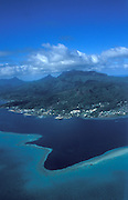 Aerial View of Huahine, Society islands.French Polynesia, South Pacific