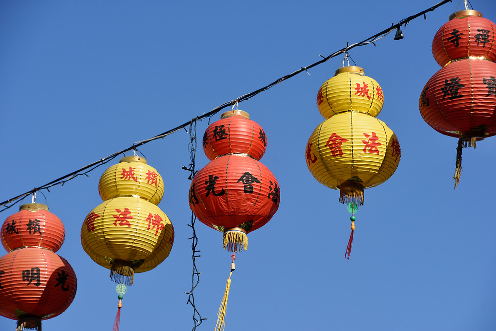 Red and Orange Lanterns hang ready to be lit up at dusk