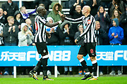 Mohamed Diame (#10) of Newcastle United and Jonjo Shelvey (#8) of Newcastle United celebrate the opening goal for Newcastle United scored by Mikel Merino (#23) of Newcastle United during the Premier League match between Newcastle United and Crystal Palace at St. James's Park, Newcastle, England on 21 October 2017. Photo by Craig Doyle.