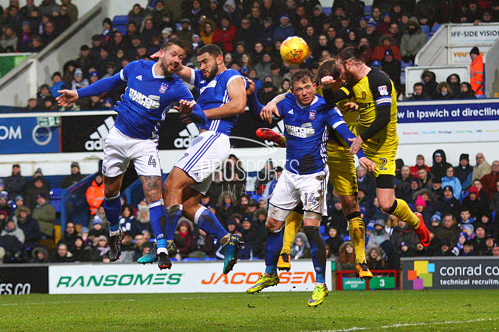 Ipswich Town's Luke Chambers heads towards goal during the EFL Sky Bet Championship match between Ipswich Town and Burton Albion at Portman Road, Ipswich, England on 10 February 2018. Picture by John Potts.