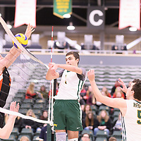 1st year setter Jake Fleming (1) of the Regina Cougars in action during Men's Volleyball home game on January 13 at Centre for Kinesiology, Health and Sport. Credit: /Arthur Images 2018
