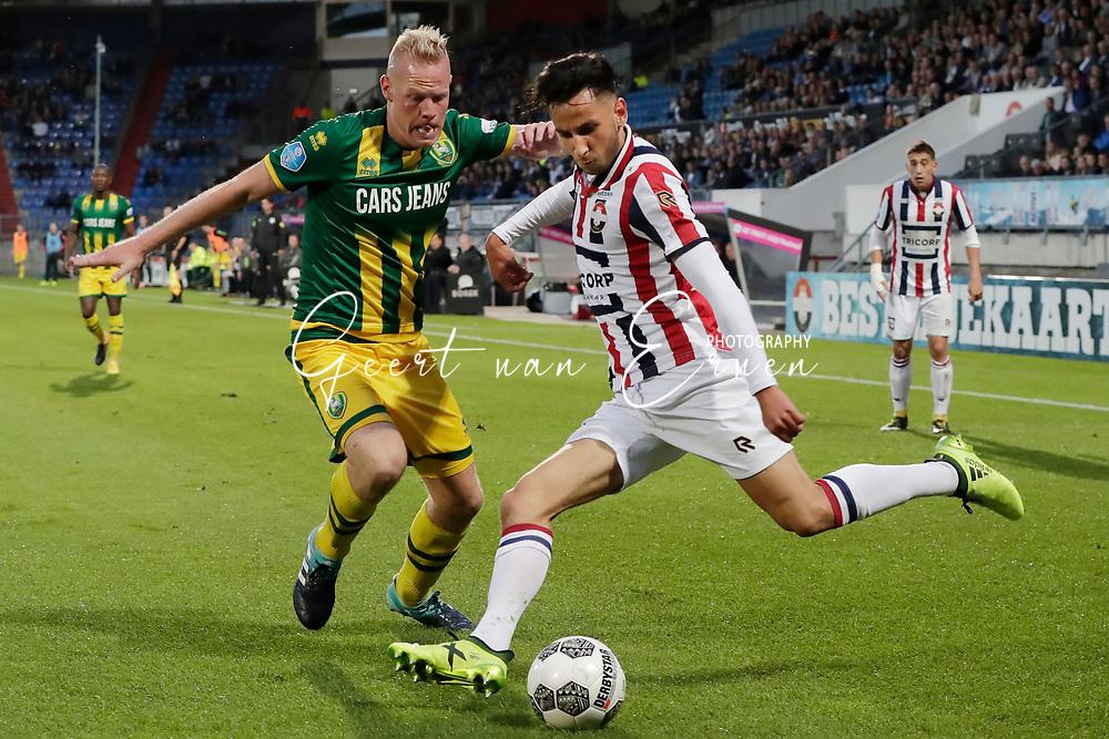 (L-R) Tom Beugelsdijk of ADO Den Haag, Ismail Azzaoui of Willem II