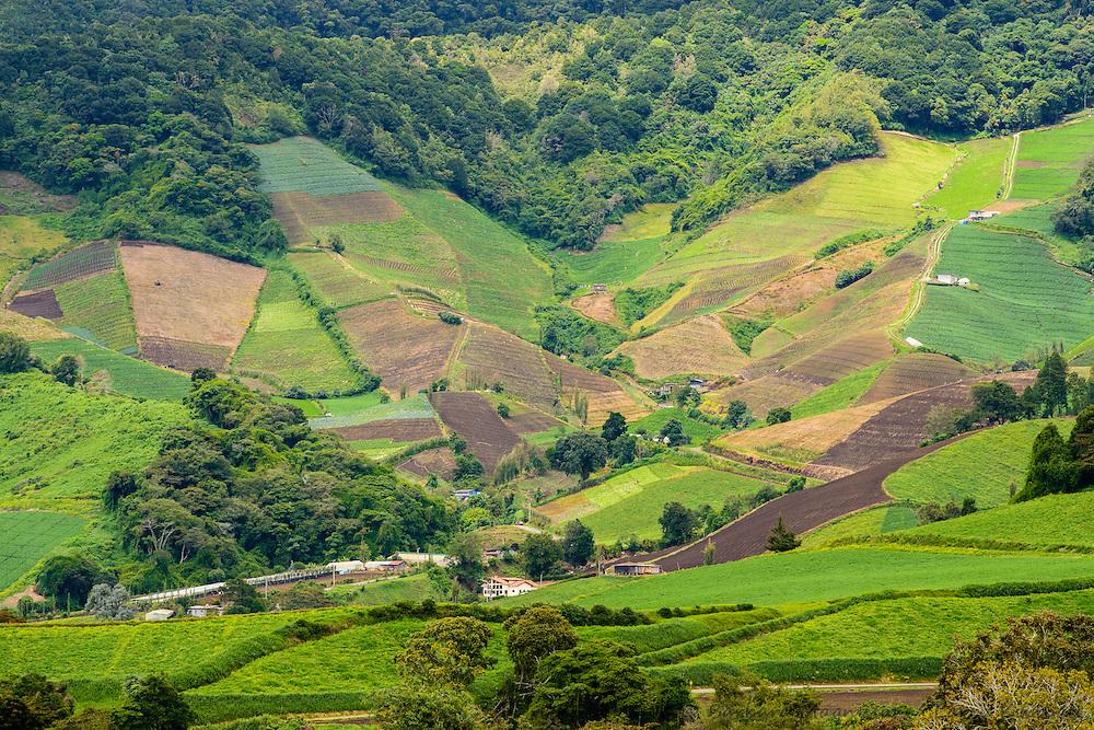 Farmland encroaches rainforest above Cerro Punta, Panama