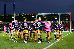 Jordan Crane (capt) of Bristol Rugby leads his side in from the warmup - Rogan Thomson/JMP - 03/12/2016 - RUGBY UNION - Kingsholm Stadium - Gloucester, England - Gloucester Rugby v Bristol Rugby - Aviva Premiership.