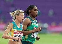 Athletics - 2017 IAAF London World Athletics Championships - Day One<br /> <br /> Event: Womens 1500m Qualifying Heat 1 <br /> <br /> Caster Semenya (RSA) with Zoe Buckman (AUS) <br /> <br /> COLORSPORT/DANIEL BEARHAM