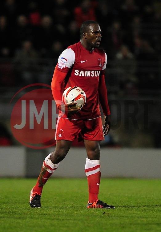 Leyton Orient's Anthony Griffith cuts a frustrated figure after commenting a foul on Yeovil Town Gavin Williams - Photo mandatory by-line: Dougie Allward/JMP - Tel: Mobile: 07966 386802 09/01/2013 - SPORT - FOOTBALL - Matchroom Stadium - London -  Leyton Orient v Yeovil Town - Johnstone's Paint Trophy Southern area semi-final.