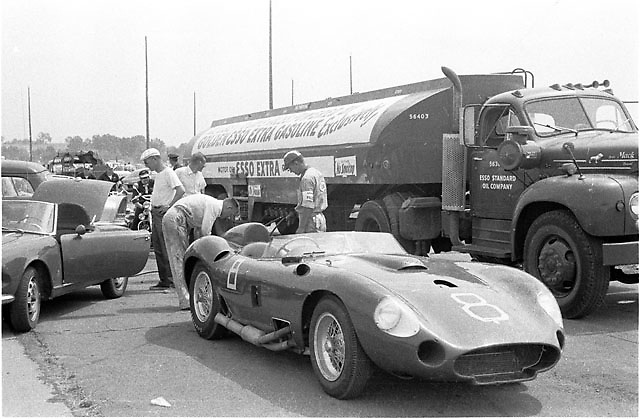 "(ID per William Edgar 2015) ""Montgomery NY August 18, 1957. John Edgar-owned 450S Maserati s/n 4506 (factory re-numbered from 4505) wearing #8, driven here to DNF by Shelby. Same 450S Shel won with at VIR and Palm Springs and Riverside Nationals, all in 1957. Also won Palm Springs prelim in 1958. Excellent period photograph! Thanks for posting."""