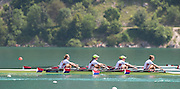 Aiguebelette, FRANCE.   USA W4X. Grace LATZ, Tracy EISSER, Eleanor LOGAN and Felice MUELLER.  2014 FISA World Cup II, 12:24:17  Sunday  22/06/2014. [Mandatory Credit; Peter Spurrier/Intersport-images]