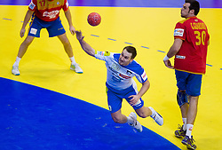 Luka Zvizej of Slovenia during handball match between Spain and Slovenia in  Main Round of 10th EHF European Handball Championship Serbia 2012, on January 25, 2012 in Spens Hall, Novi Sad, Serbia. (Photo By Vid Ponikvar / Sportida.com)