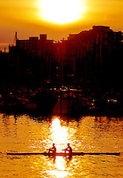 Two rowers on False Creek at sunset, Vancouver BC