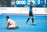 BHUBANESWAR -  Hockey World League finals , Semi Final . Argentina v India. Manpreet Singh (Ind) after the lost match. right Matias Paredes (Arg)  COPYRIGHT KOEN SUYK