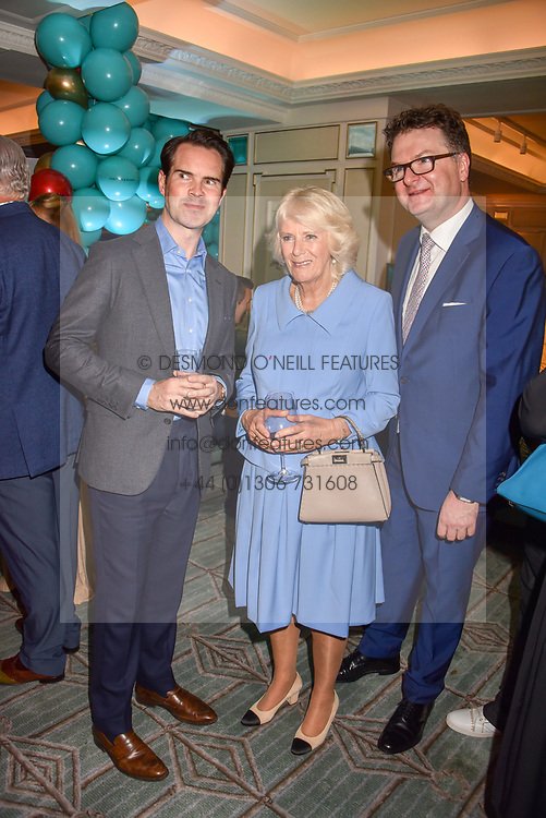 Jimmy Carr, HRH The Duchess of Cornwall and Ewan Venters at the launch of the Fortnum & Mason Christmas & Other Winter Feasts Cook Book by Tom Parker Bowles held at Fortnum & Mason, 181 Piccadilly, London, England. 17 October 2018.