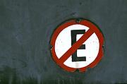 No E Sign on Grey Wall