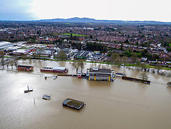 Flood water continues to surround Worcester city centre, in the aftermath of Storm Dennis.