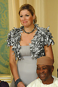 Princess Maxima and President of Mali, Amadou Toumani Toure pose for the media before the statebanquet at palace Noordeinde in The Hague.